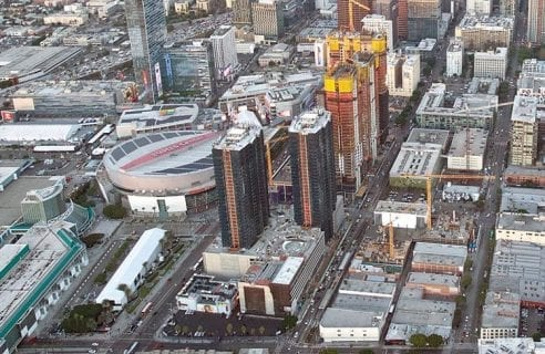 aereal view of the staples center and surrounding buildings