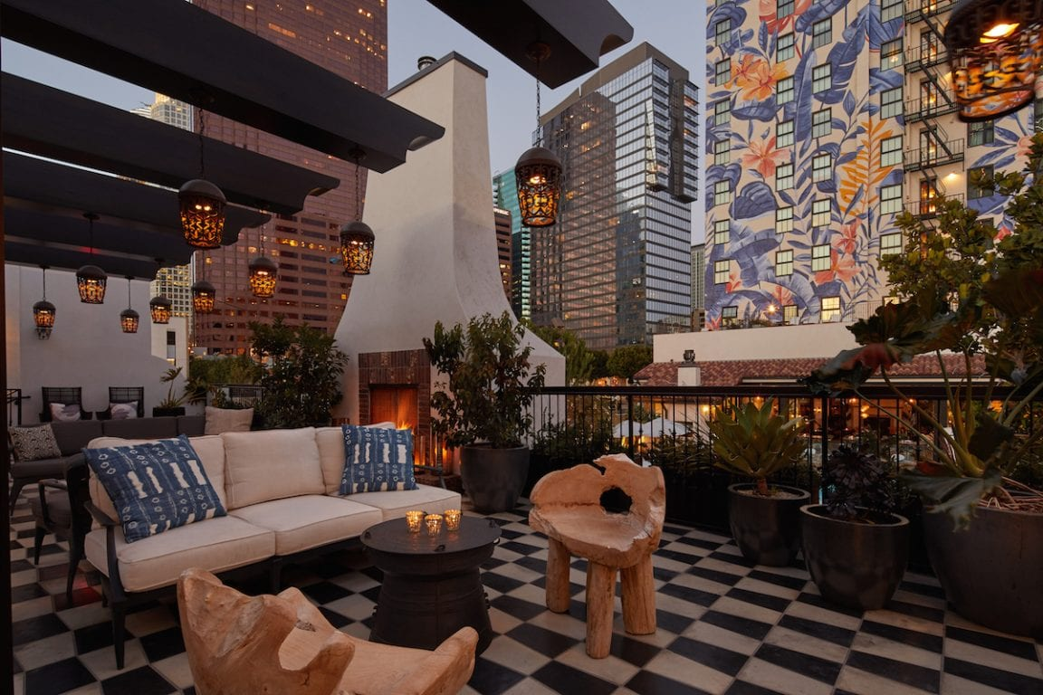 Hotel Figueroa outdoor lounge area