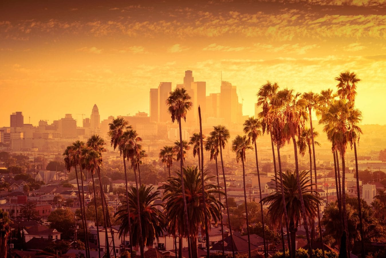 sunset in downtown los angeles
